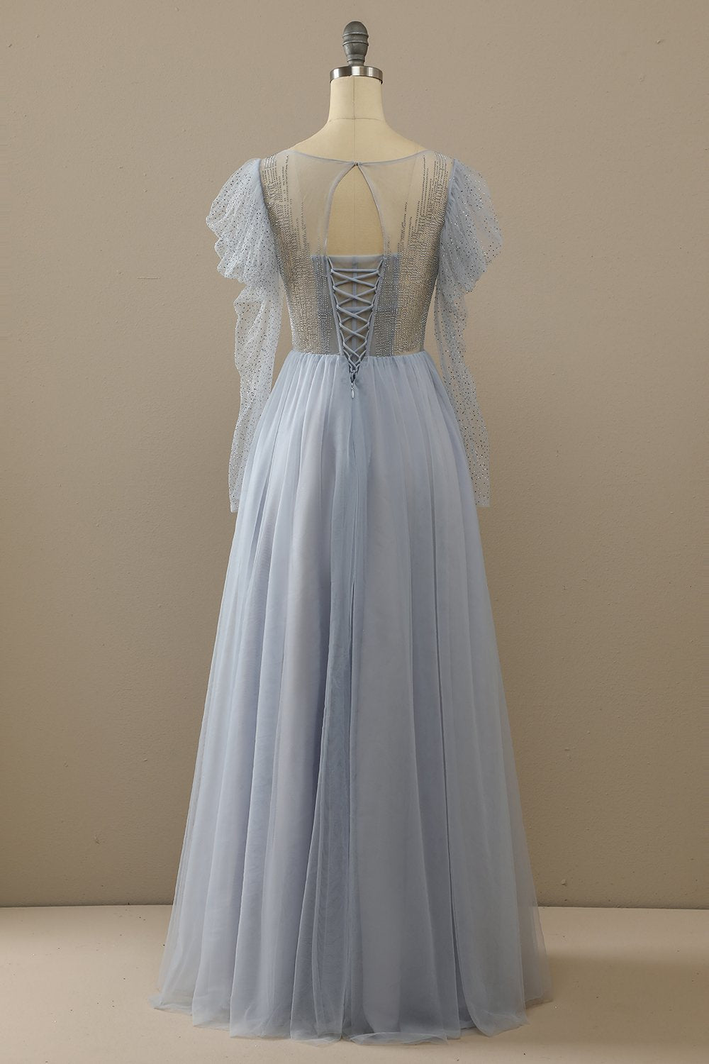 Light Sky Blue Tulle A-Line Prom Dress