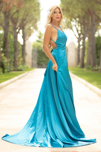 Blue Satin Prom Dress