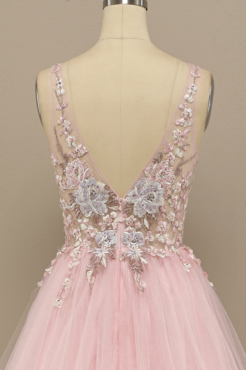 Load image into Gallery viewer, Gorgeous Deep V Neck Grey/Pink Prom Dress with Appliques
