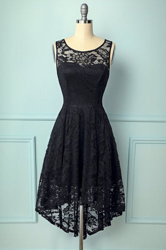 Black Asymmetrical Lace Dress