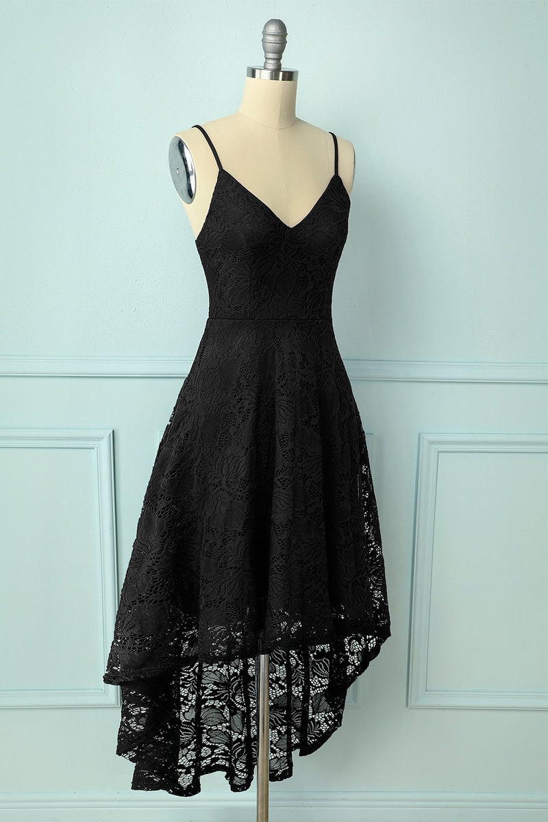 Load image into Gallery viewer, Straps Black Lace Dress
