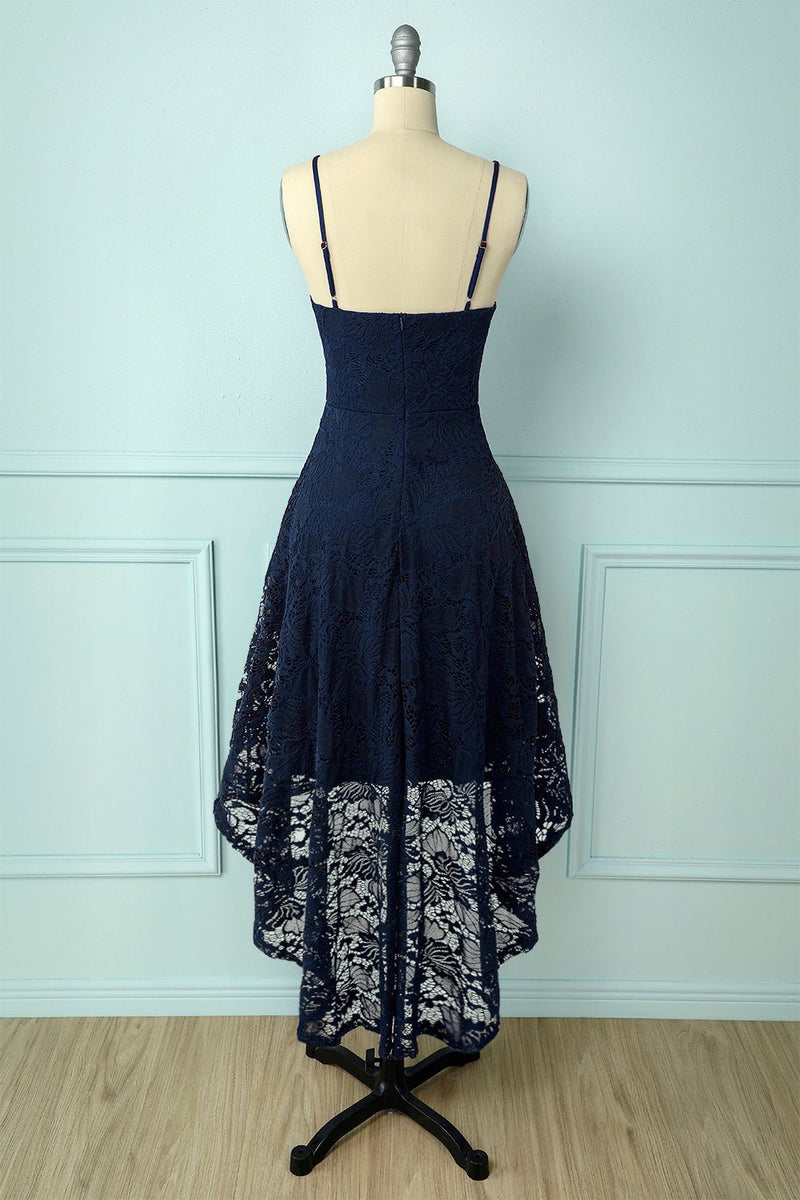 Load image into Gallery viewer, Straps Navy Lace Dress