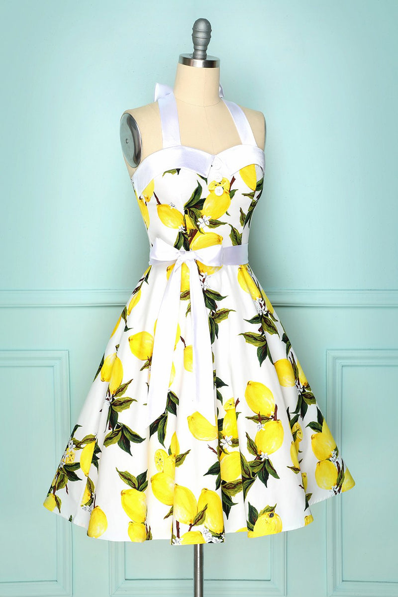 Load image into Gallery viewer, Halter Lemon Dress
