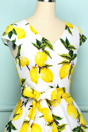 V-neck Lemon Print Dress