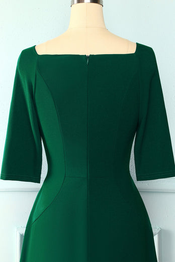 Green Pockets Vintage Dress
