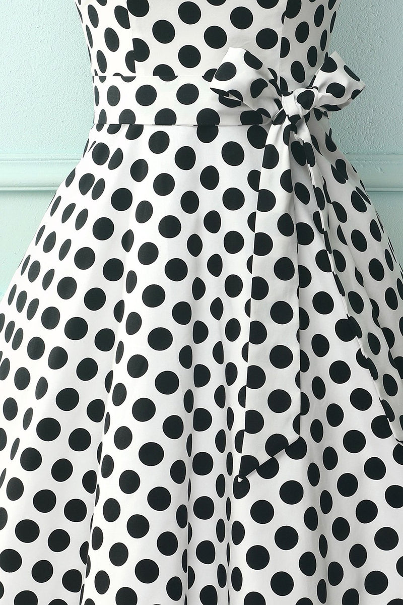 Load image into Gallery viewer, Straps White Black Dots Dress