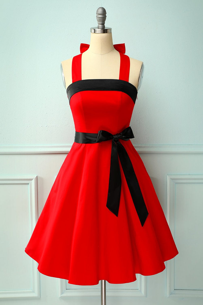 Load image into Gallery viewer, Red/Black Halter Pinup Dress