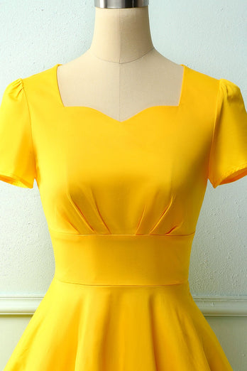 Yellow Dress Asymmetrical Neck