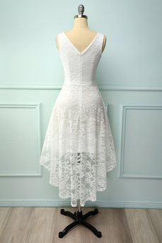 Lace White Asymmetrical Dress