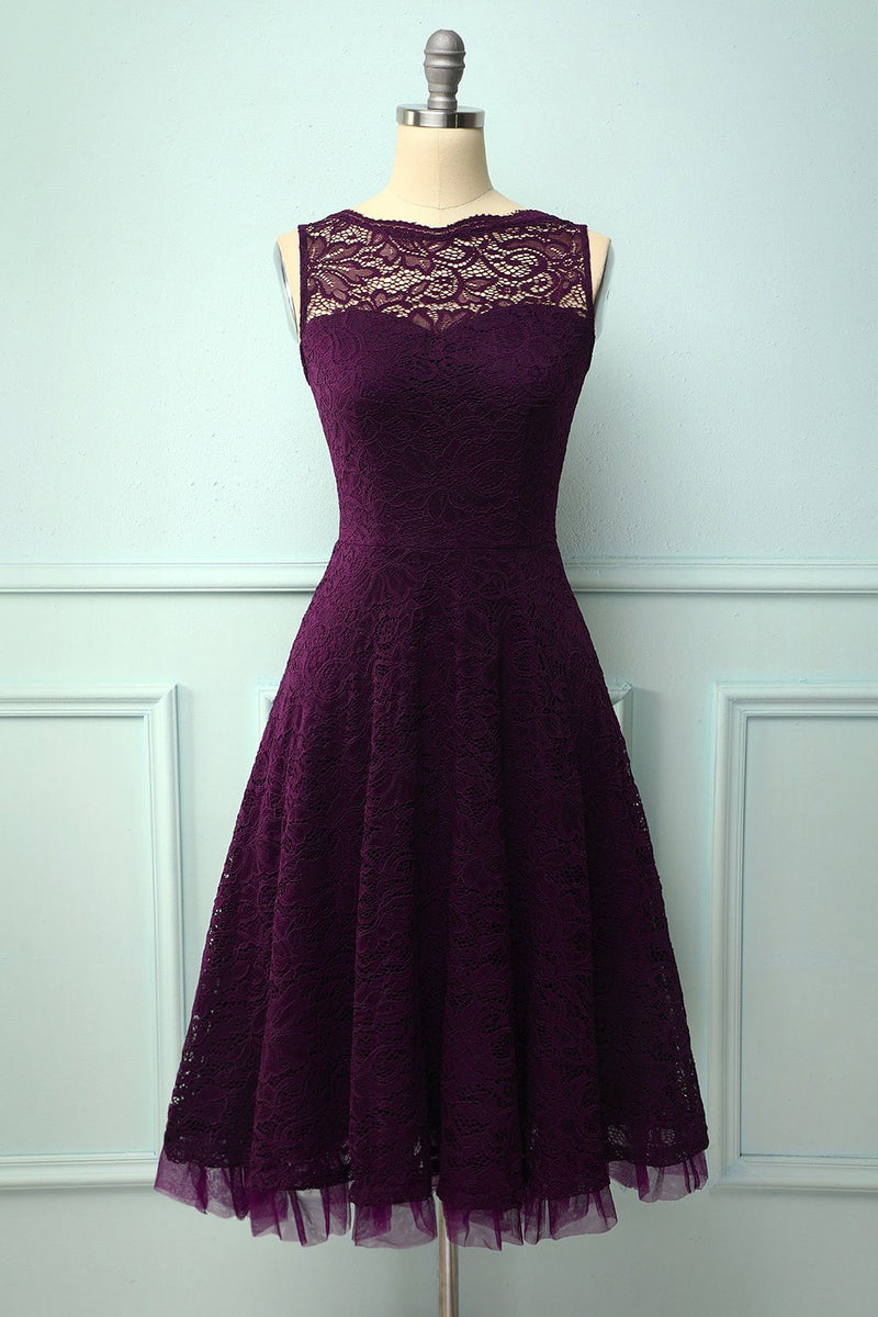 Load image into Gallery viewer, Lace Grape Formal Dress