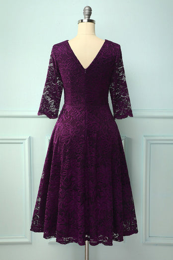 Grape 3/4 Sleeves Formal Dress