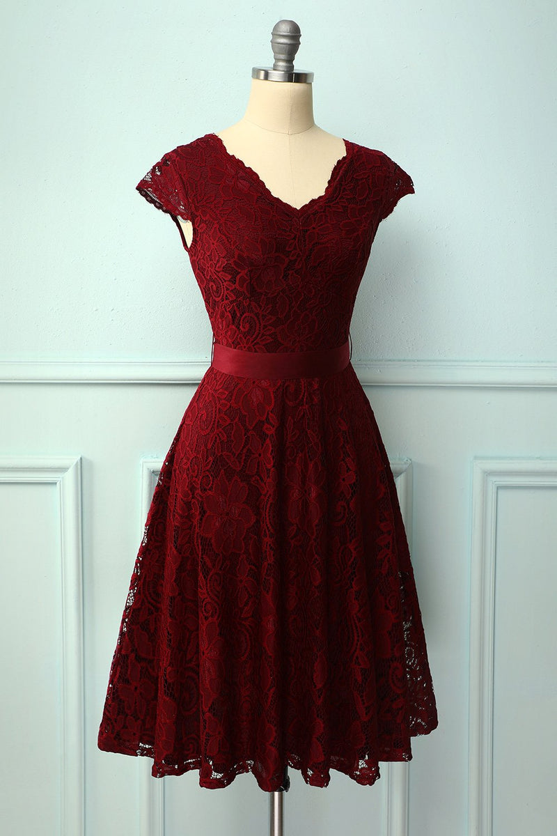 Load image into Gallery viewer, Burgundy Lace V-neck Dress