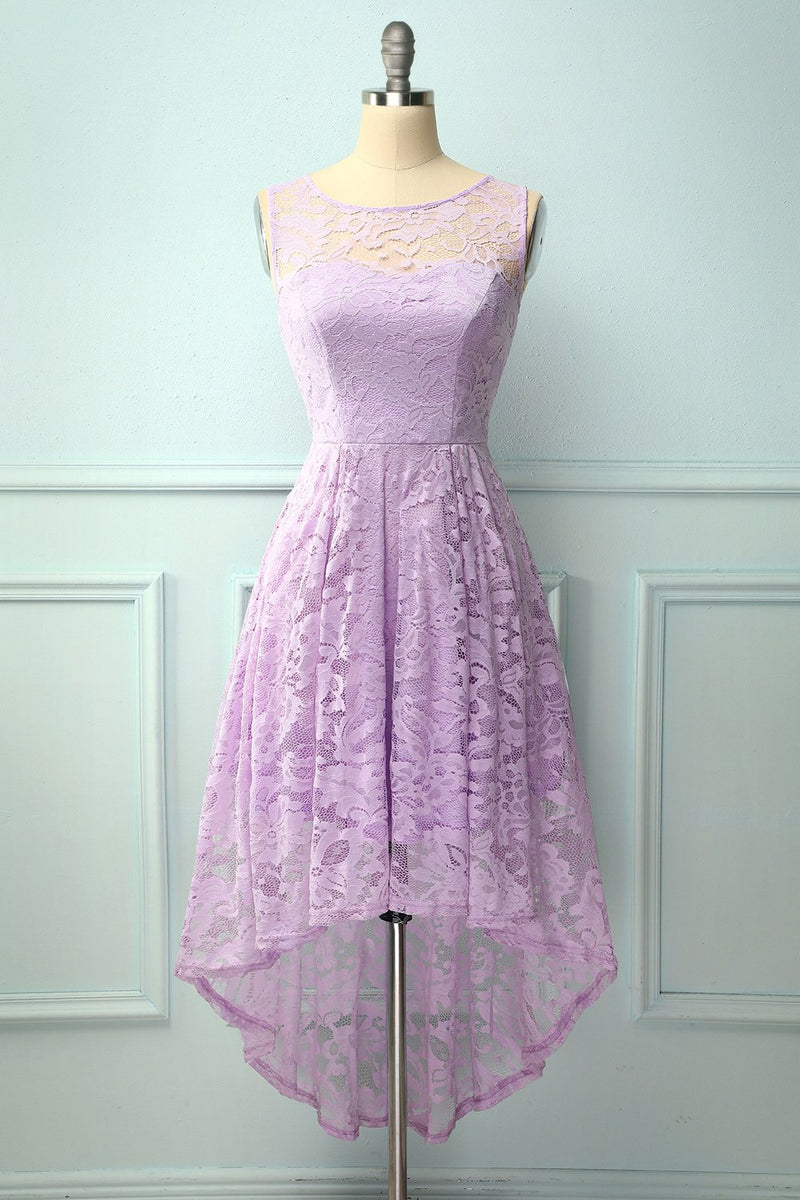 Load image into Gallery viewer, Asymmetrical Lavender Lace Dress