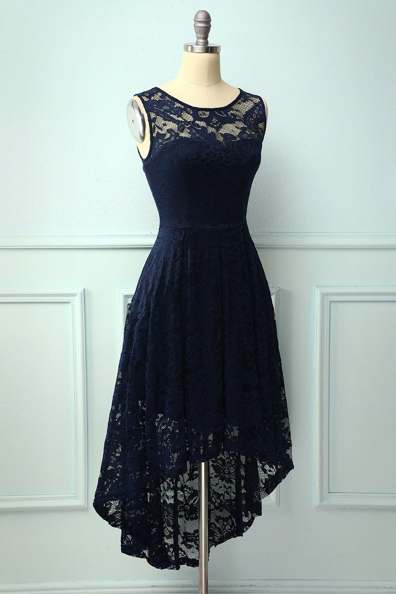 Load image into Gallery viewer, Asymmetrical Navy Lace Dress