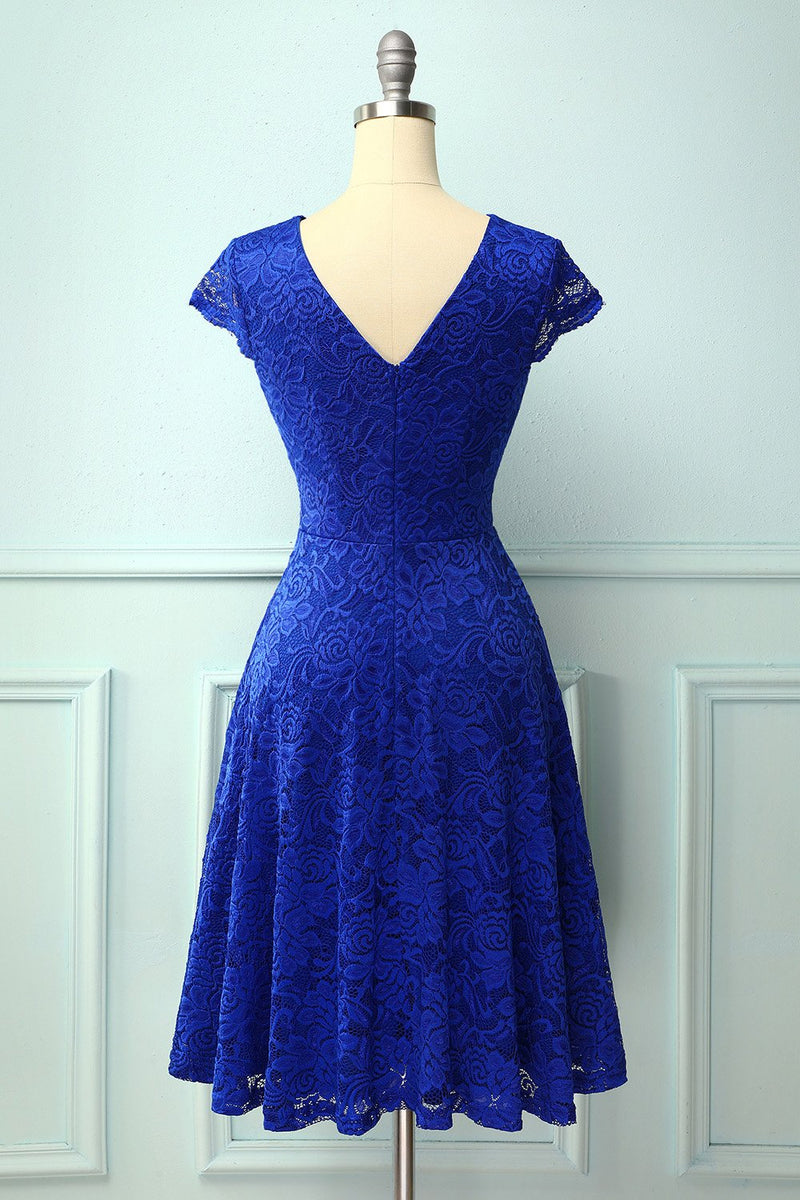 Load image into Gallery viewer, Royal Blue V Neck Midi Lace Dress