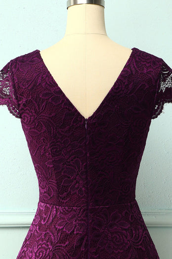 Grape V Neck Midi Lace