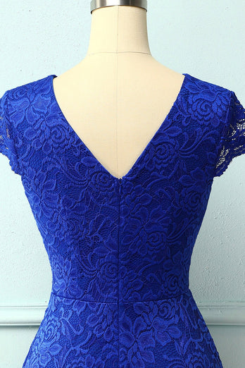 Royal Blue V Neck Midi Lace Dress