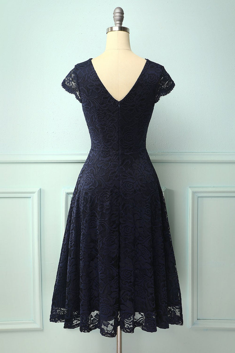 Load image into Gallery viewer, Navy V Neck Midi Lace
