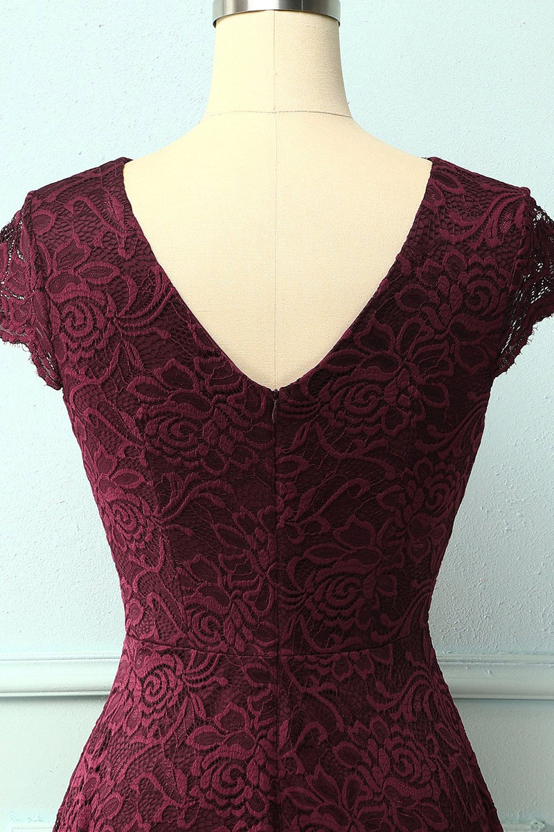 Load image into Gallery viewer, Burgundy V Neck Midi Lace Dress