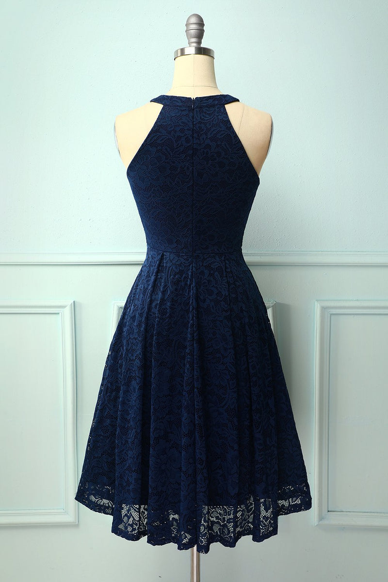 Load image into Gallery viewer, Navy Halter Lace Midi Dress