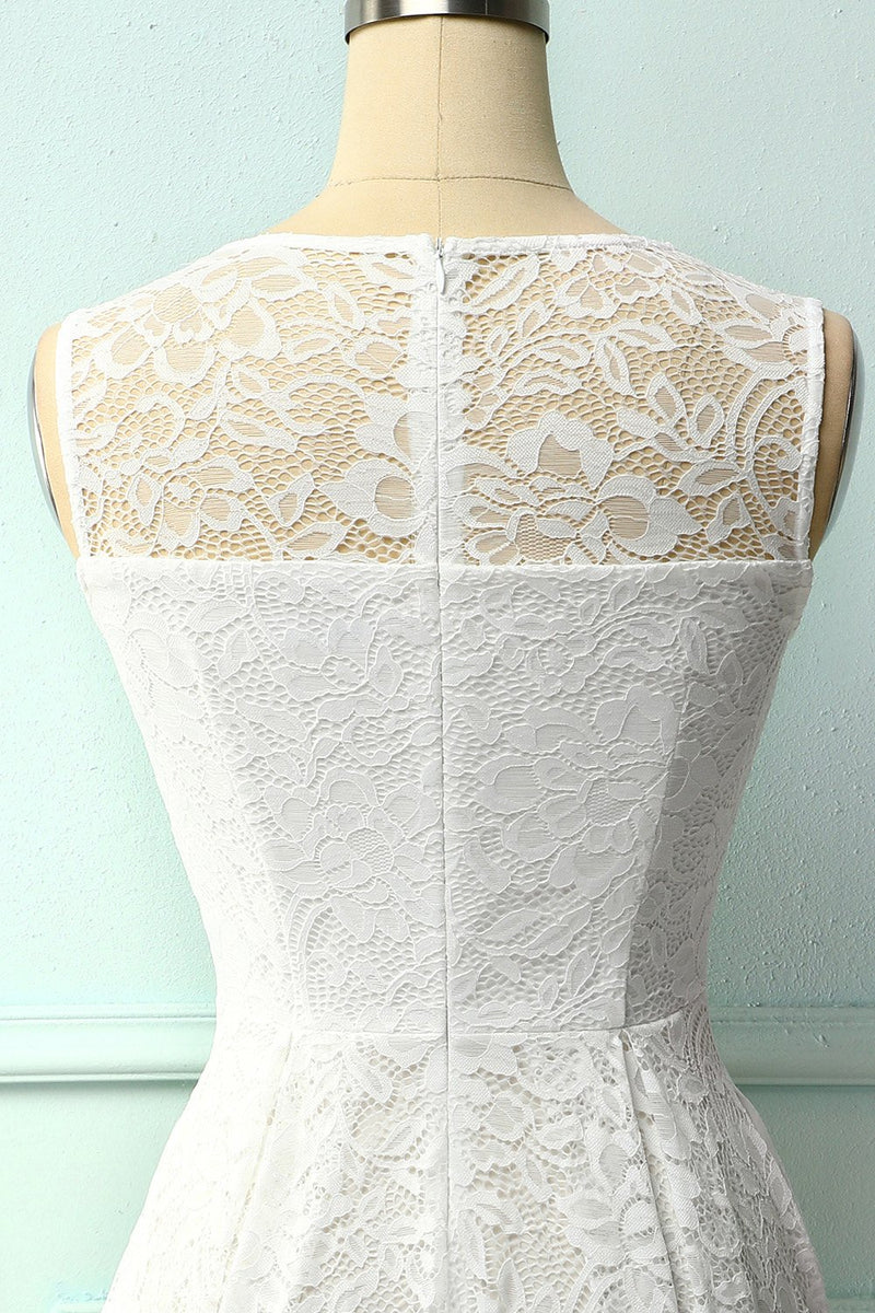 Load image into Gallery viewer, White Midi Lace Dress