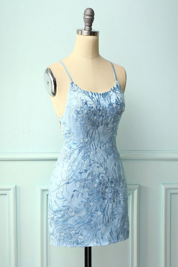 Sky Blue Spaghetti Straps Bodycon Dress