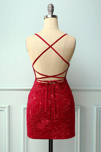 Spaghetti Straps Red Bodycon Dress