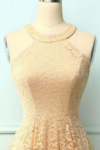 Champagne Halter Lace Midi Dress