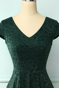 Dark Green High Low Lace Dress