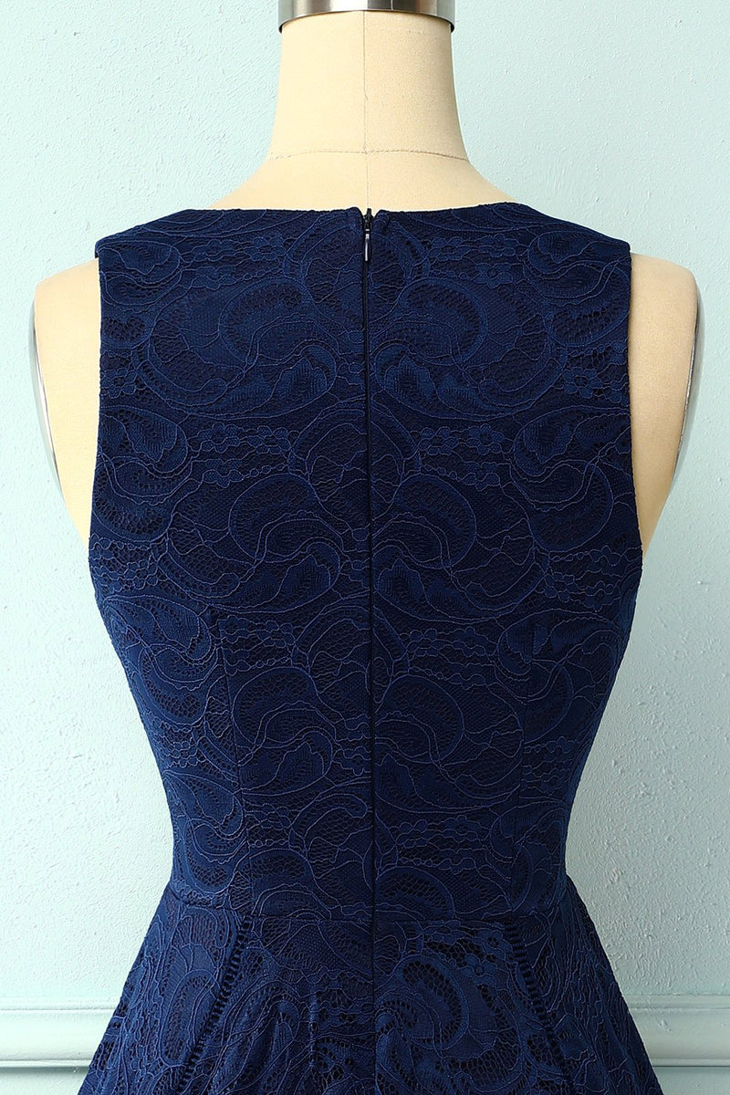 Load image into Gallery viewer, Asymmetrical Navy V Neck Lace Dress
