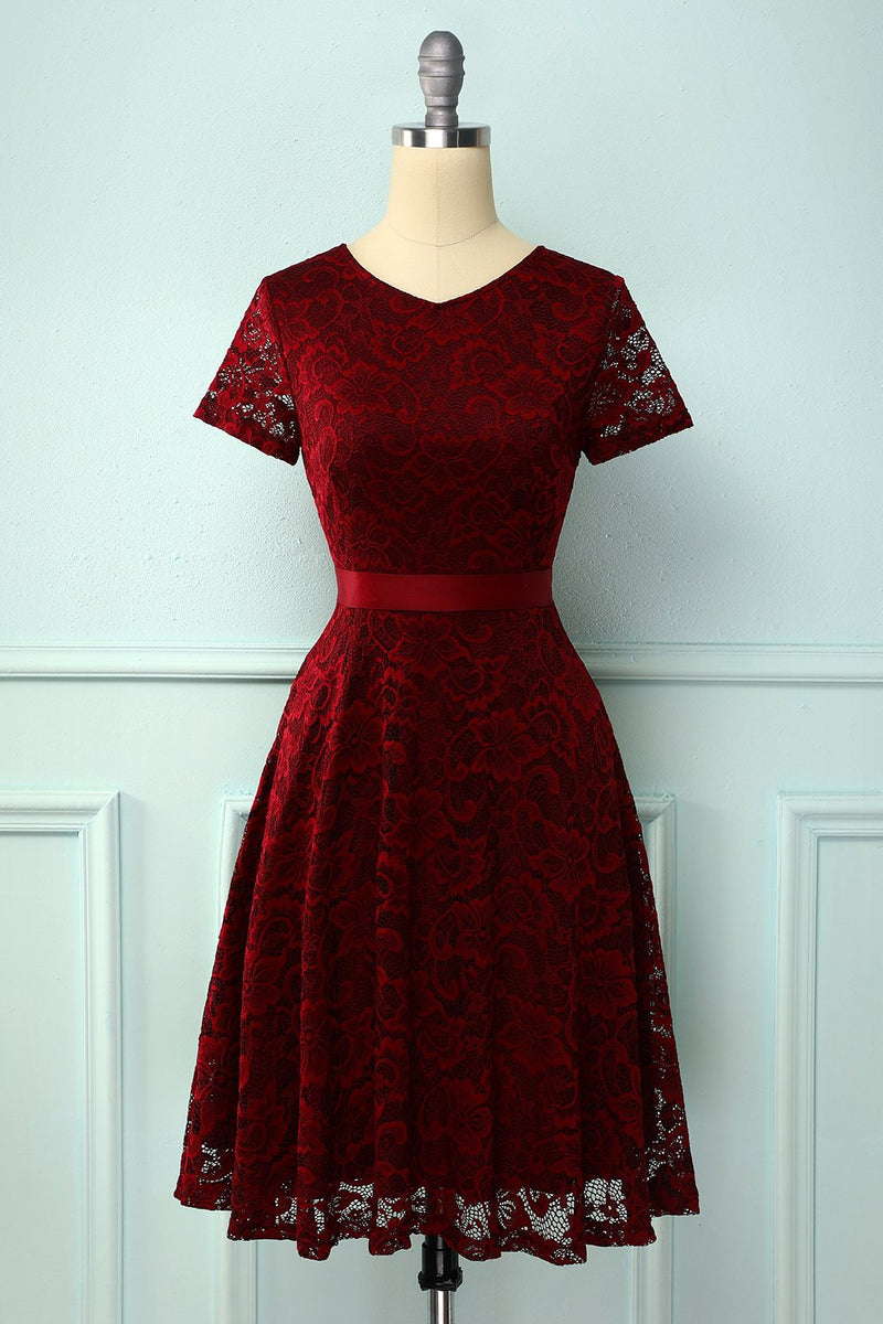 Load image into Gallery viewer, Burgundy Short Sleeves Lace Dress
