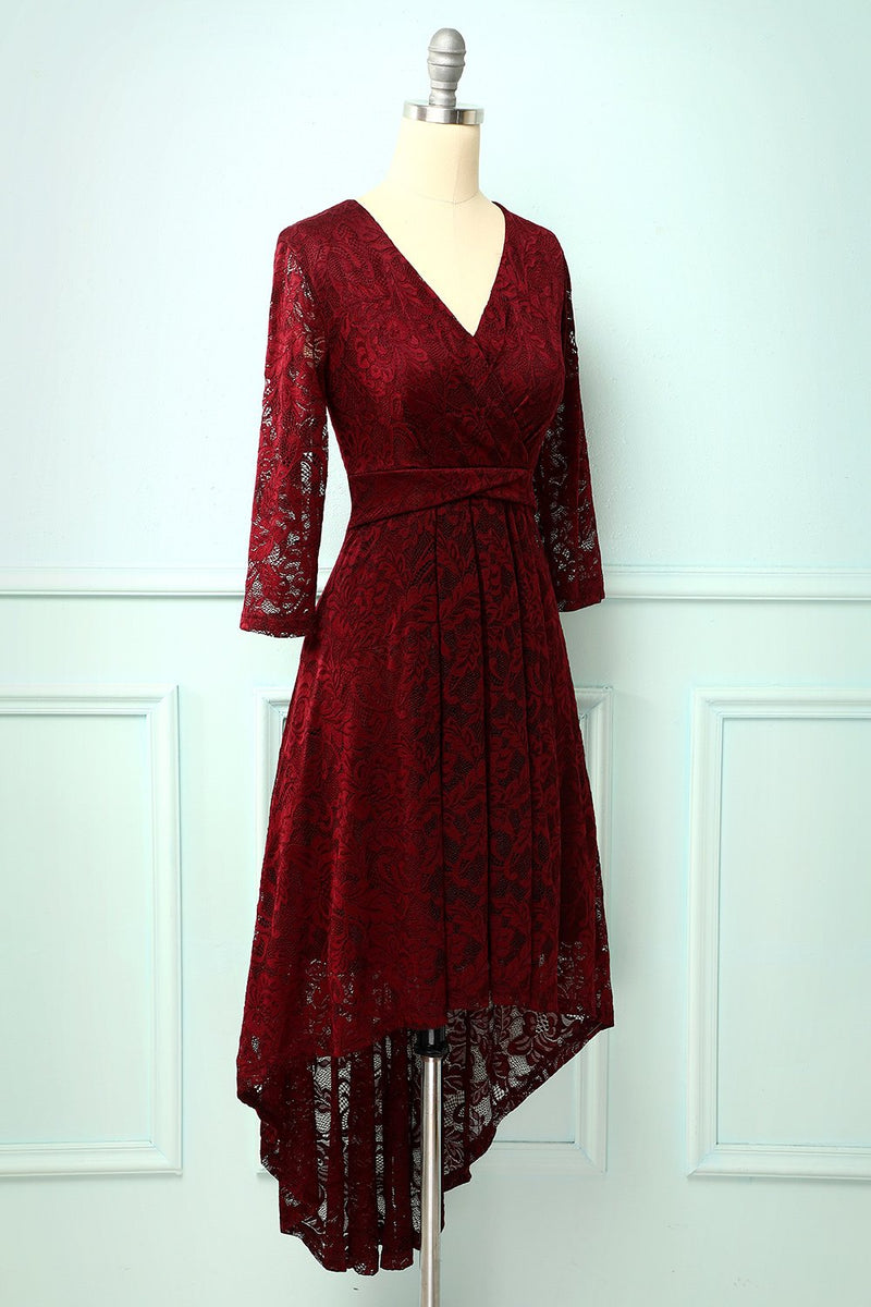 Load image into Gallery viewer, Burgundy High Low Lace
