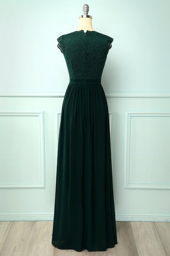 V-neck Green Long Bridesmaid Dress