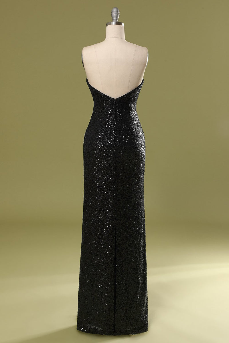 Load image into Gallery viewer, Long Black Sequins Holiday Dress