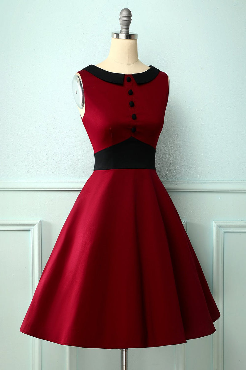 Load image into Gallery viewer, Vintage Burgundy Peter Pan Collar Dress
