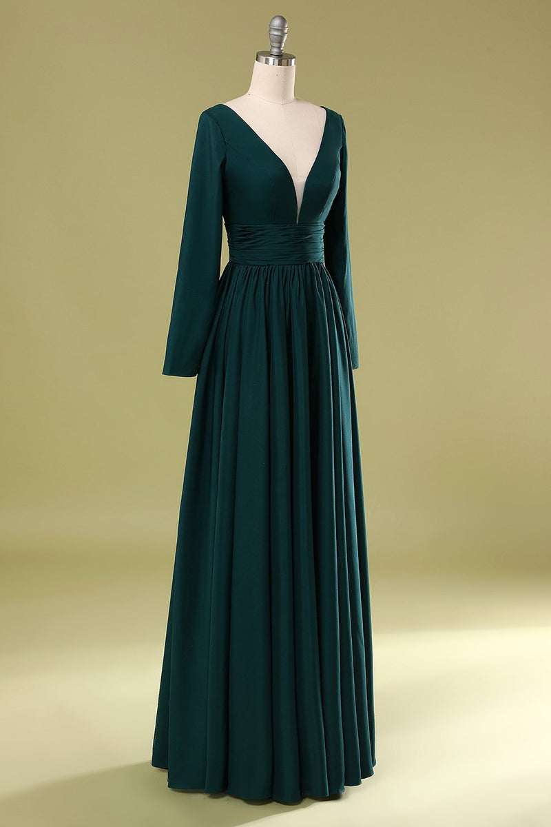 Load image into Gallery viewer, Dark Green V Neck Mother Of the Bride Dress