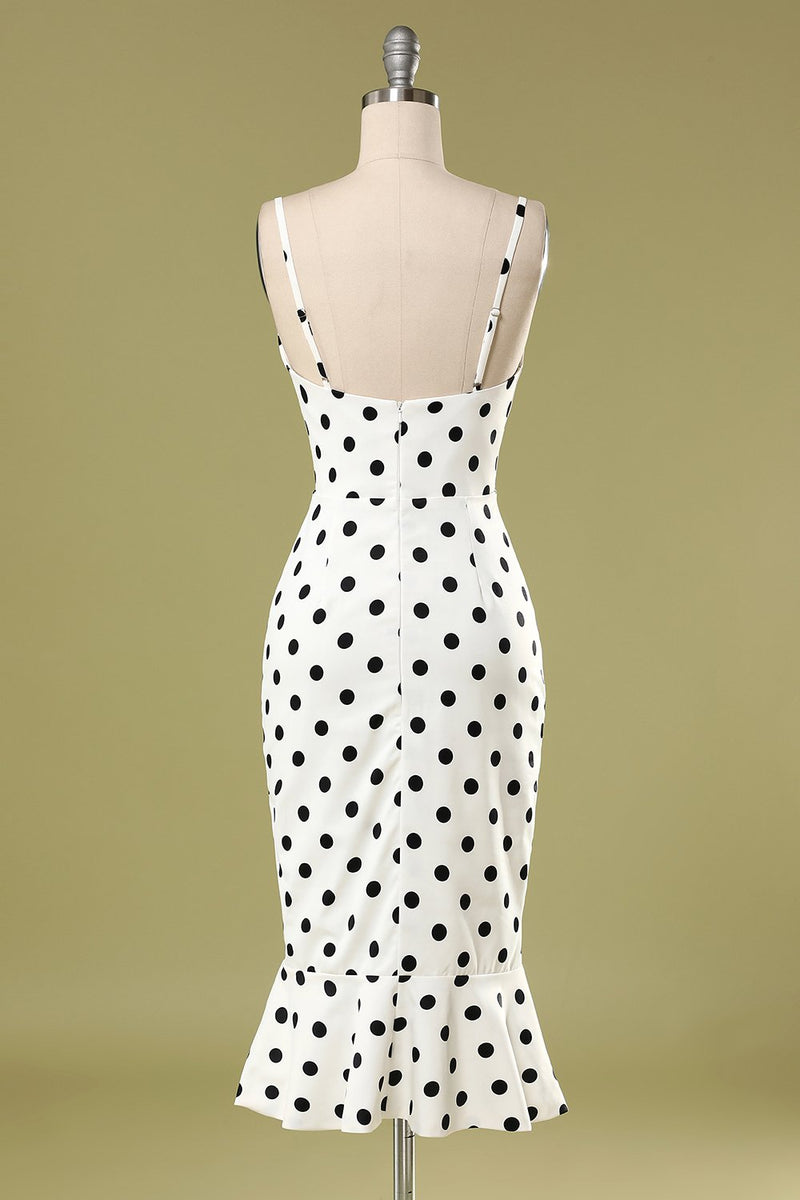 Load image into Gallery viewer, Black and White Polka Dots Mermaid Dress