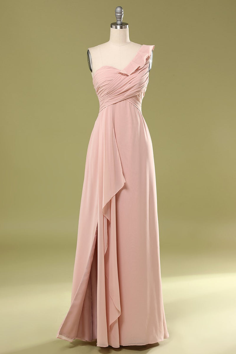 Load image into Gallery viewer, Pink Falbala Bridesmiad Dress with Ruffle
