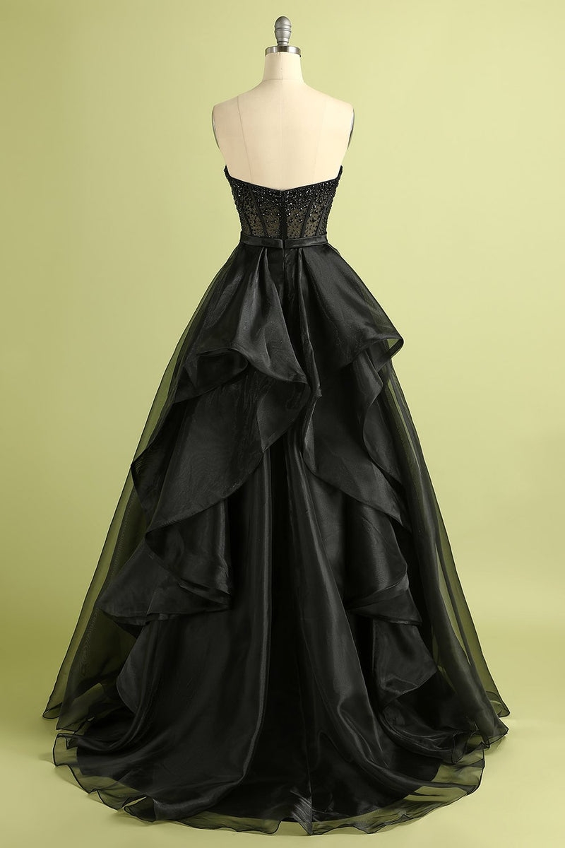 Load image into Gallery viewer, Black Strapless Ball Gown Evening Dress
