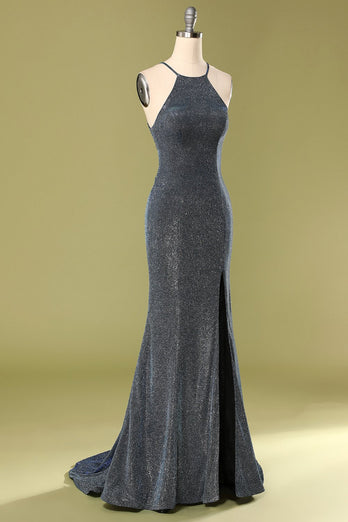 Grey Halter Long Dress with Slit