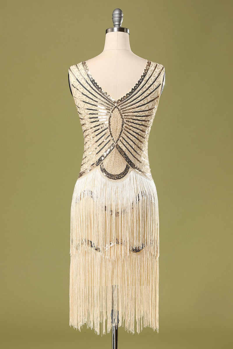 Load image into Gallery viewer, Sequin Glitter Fringe 1920s Dress