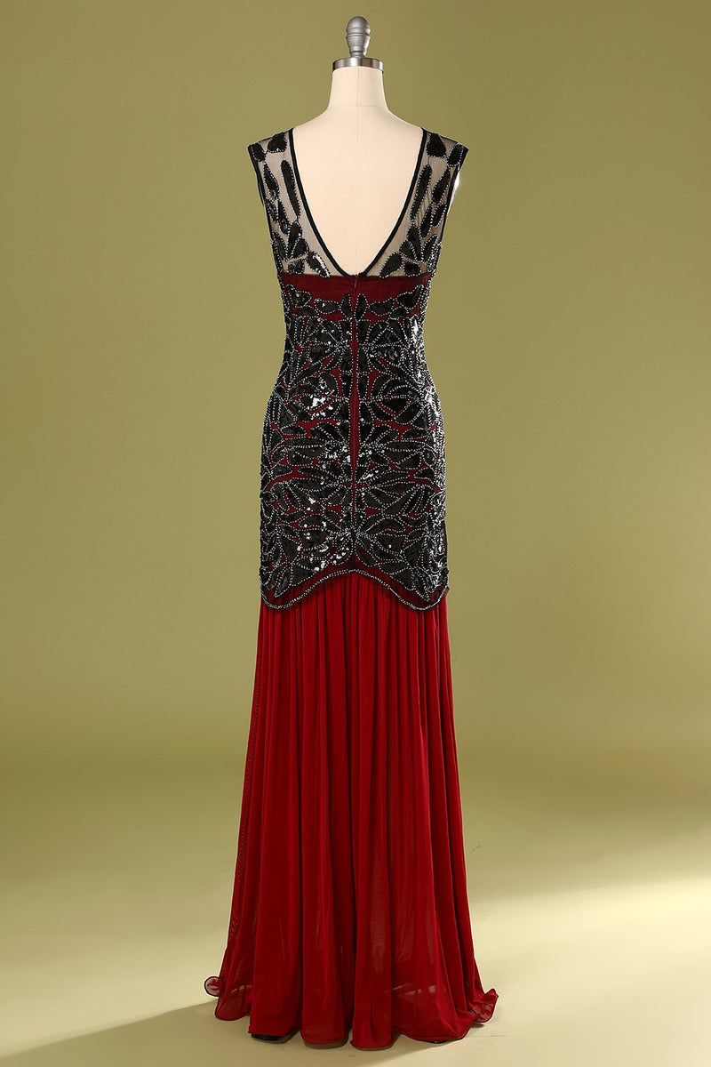 Load image into Gallery viewer, Red and Black 1920s Sequined Flapper Dress