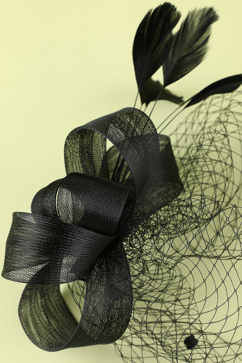 Load image into Gallery viewer, Black 1920s Feather Headband