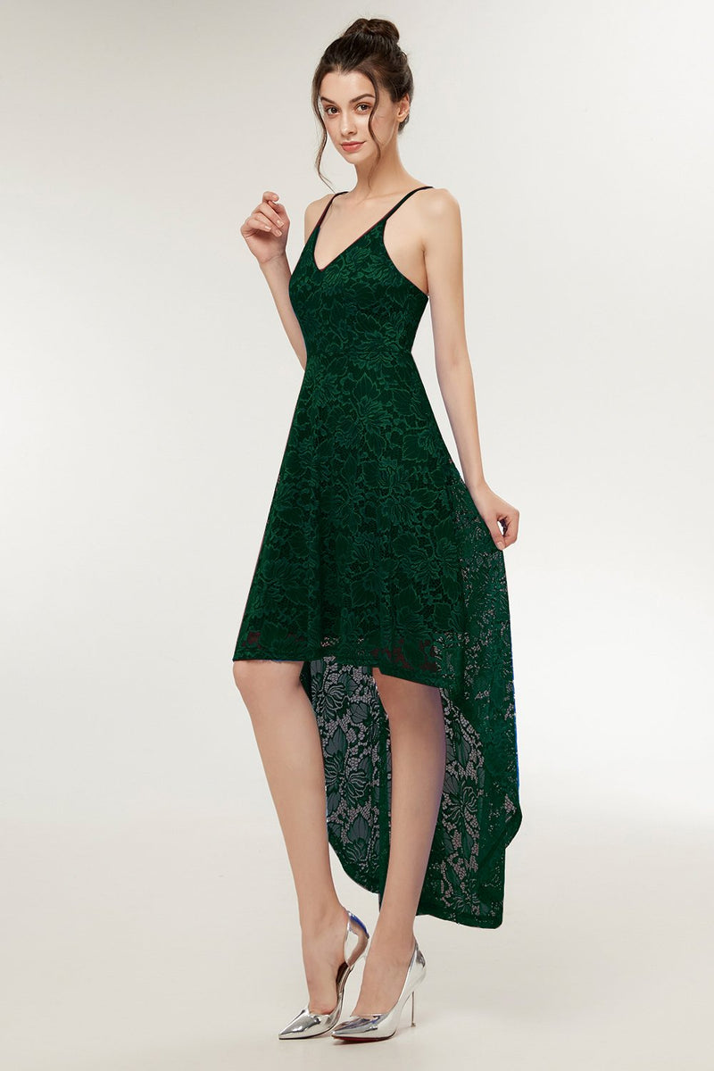 Load image into Gallery viewer, Straps Dark Green Lace Dress
