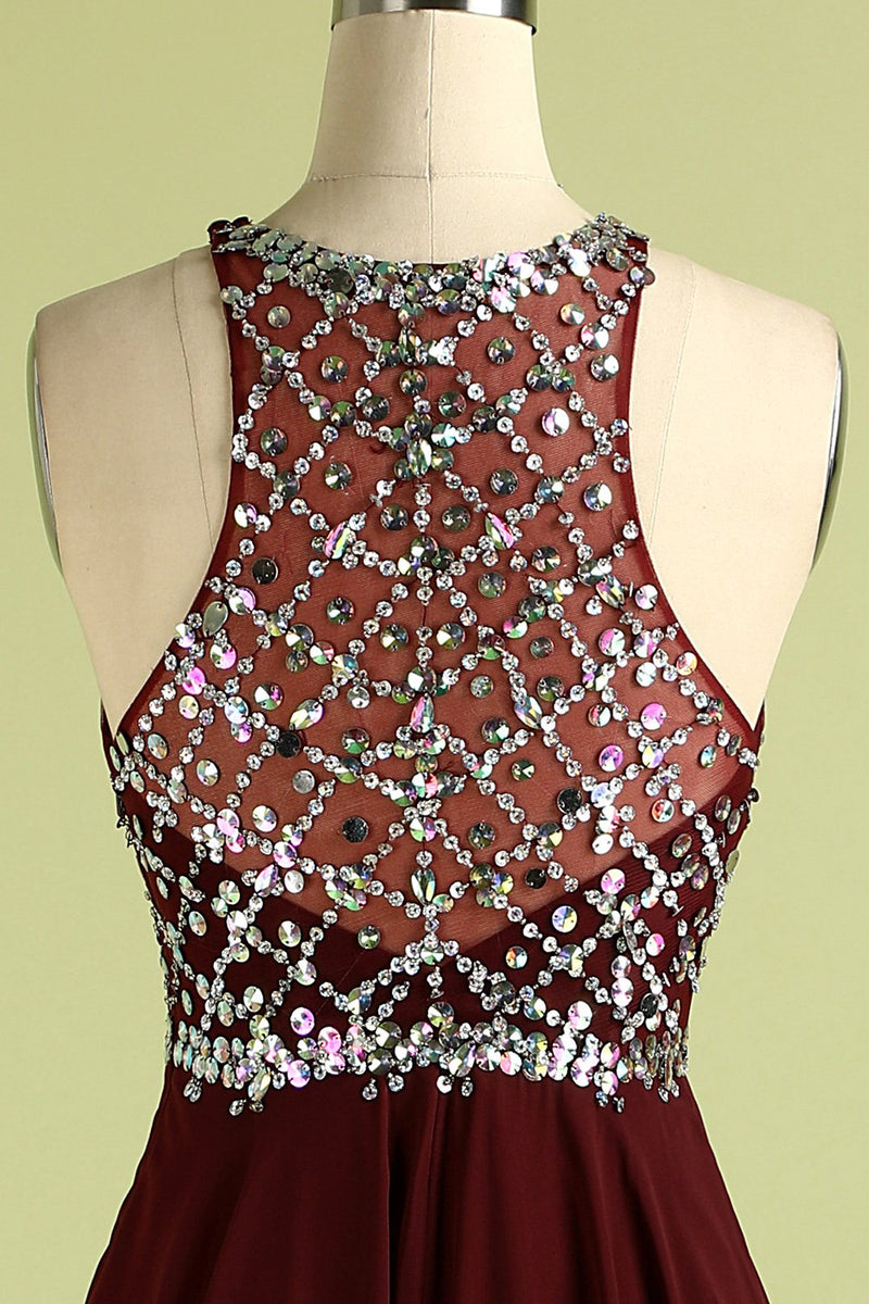 Load image into Gallery viewer, Burgundy Sequins Long Prom Dress