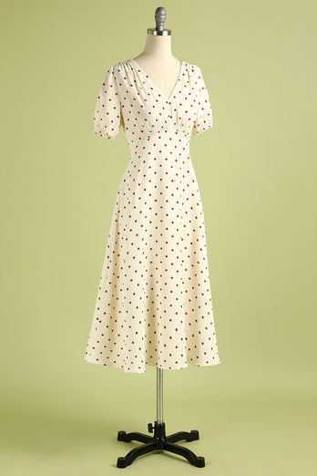 1950s Polka Dots Ivory Dress