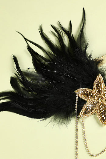 1920s Black Feather Beaded Headband