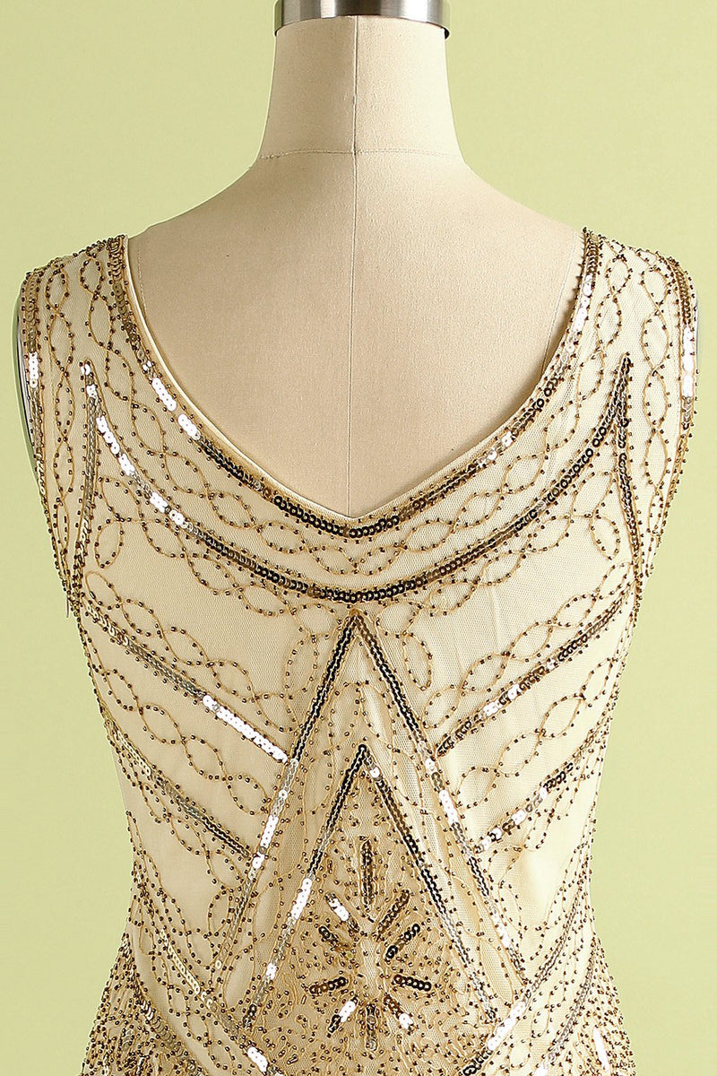 Load image into Gallery viewer, 1920s Champagne Fringe Sequins Dress
