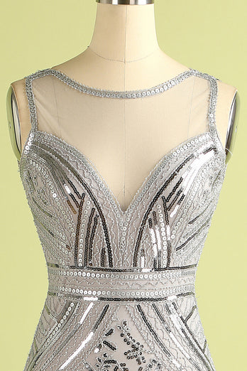 Grey Sequin Long Tulle 1920s Dress