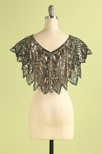 Black Sequin Glitter 1920s Cape